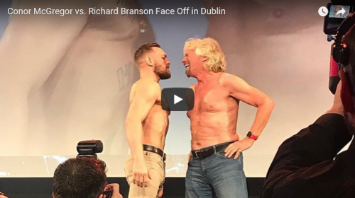 Richard Branson, founder of Virgin Media, faces off with UFC champ, Conor McGregor