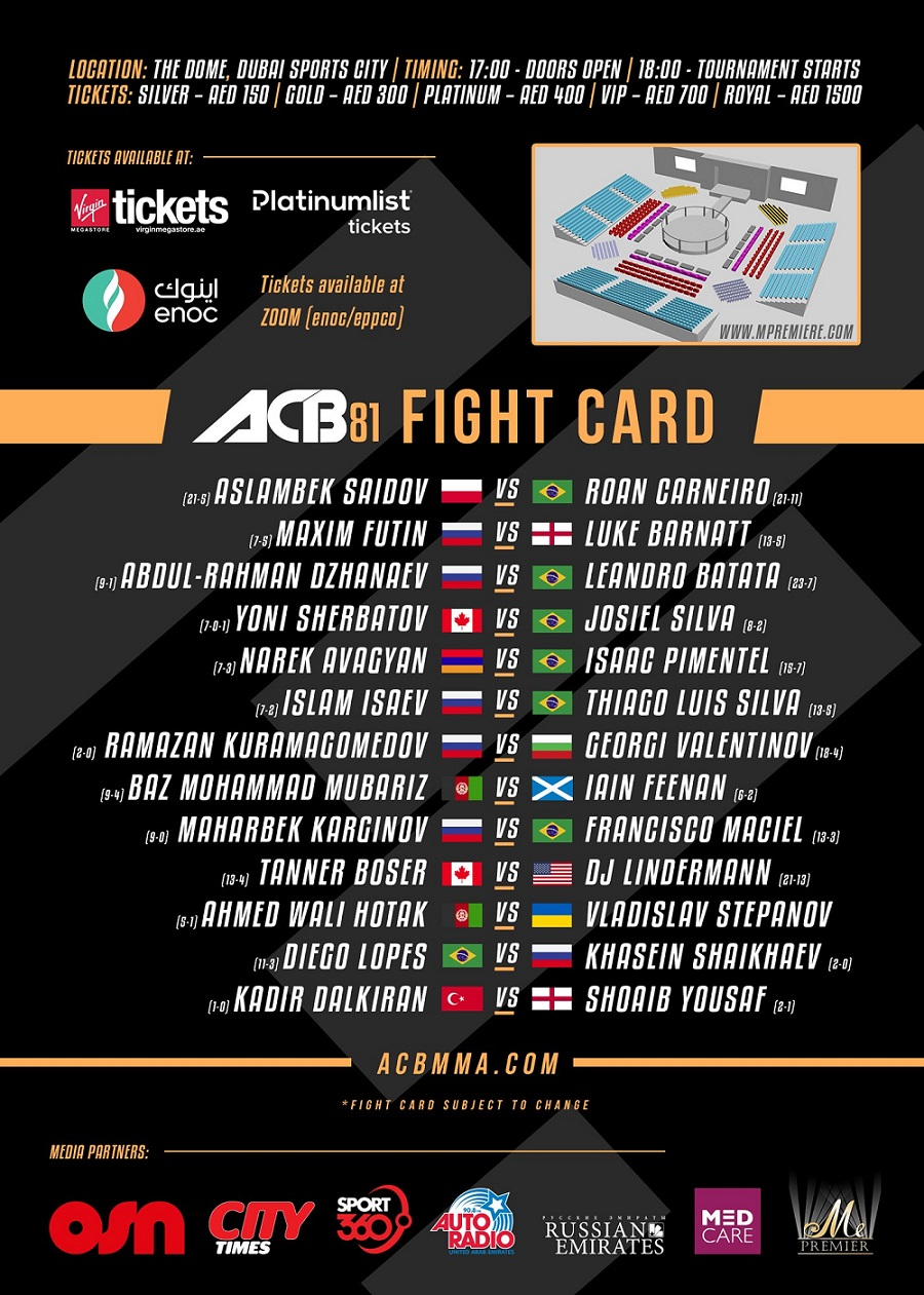 Absolute Championship Berkut - Dubai, ACB 81
