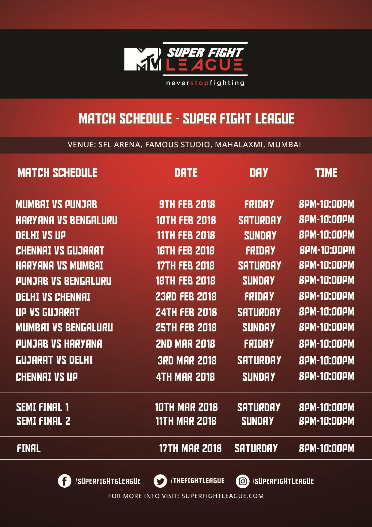 MTV SFL 2018 Schedule