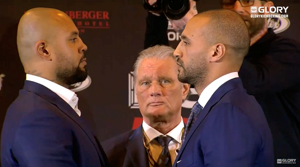 Badr Hari and hesdy Gerges sqaure off at GLORY 51 Rotterdam presser