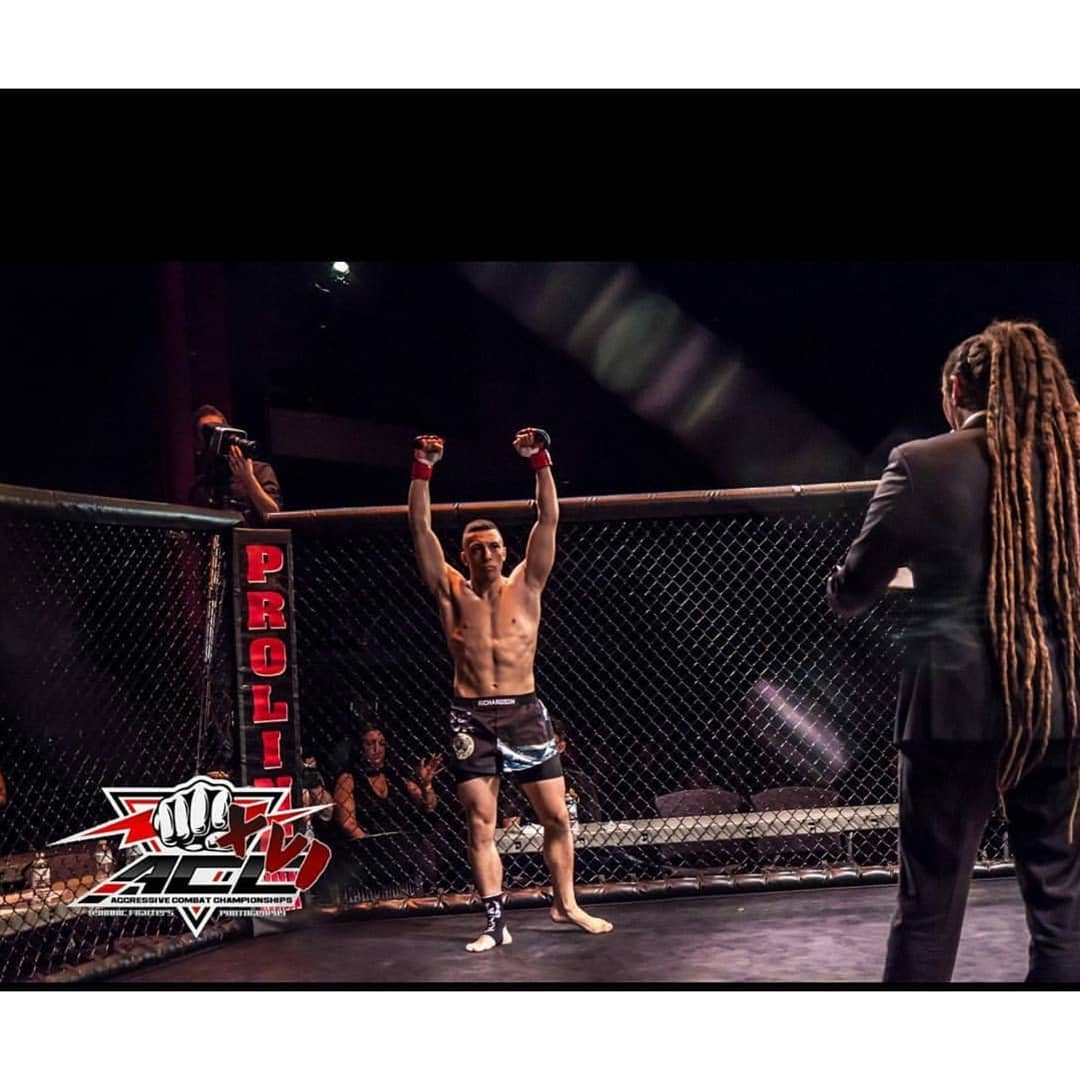 Ross Richardson fighting his second amateur fight vs. Kenny Rayside at Aggressive Combat Championships 16.