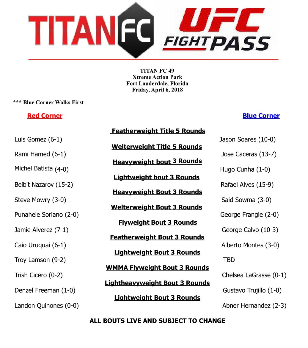Titan FC 49 fight card