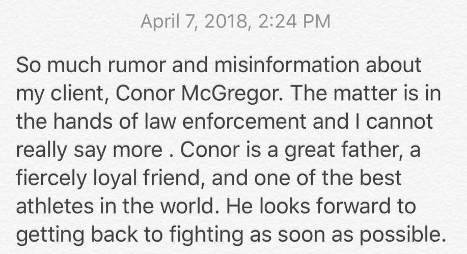Conor McGregor's manager issues statement