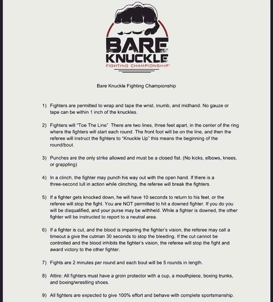 Bare Knuckle Fighting Championship rules