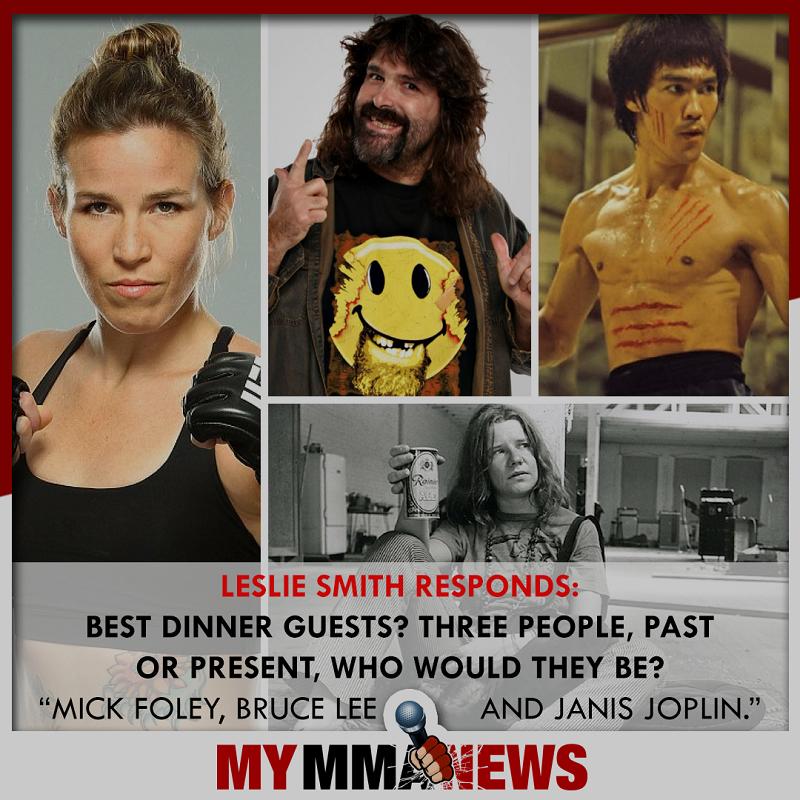 dinner guests, Leslie Smith, Mick Foley, Janis Joplin, Bruce Lee