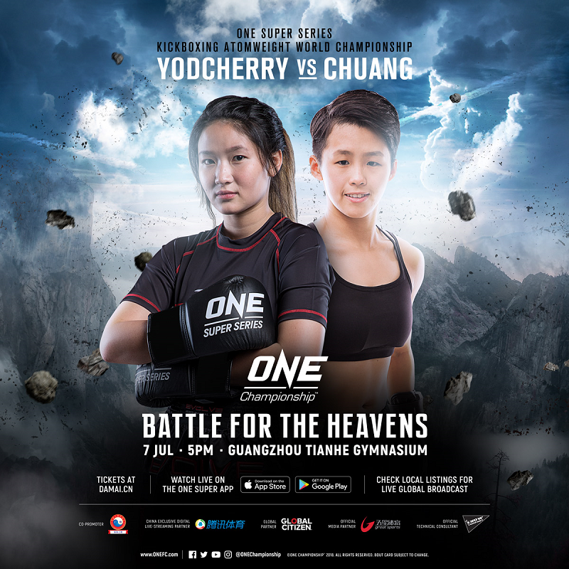 Yodcherry Sityodtong of Thailand will take on Kaiting Chuang of Chinese Taiwan for the inaugural ONE Super Series Kickboxing Atomweight World Championship.