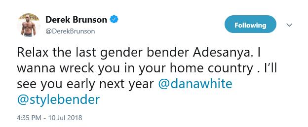 Derek Brunson tweet