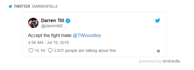 Darren Till tweet