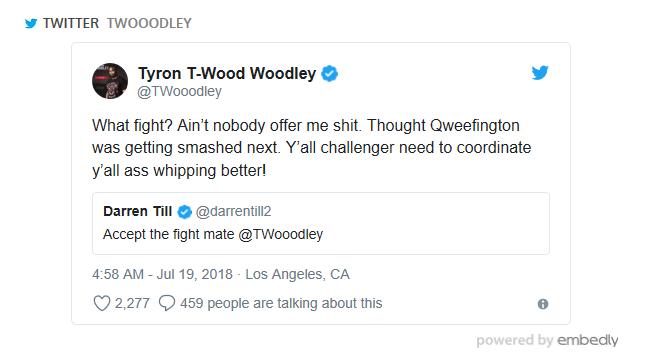 Tyron Woodley tweet