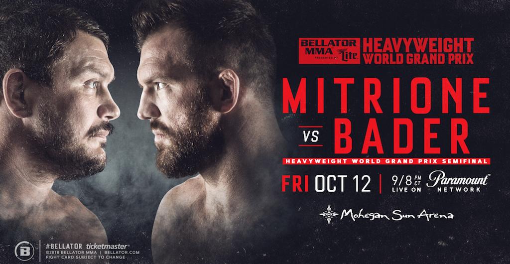 Matt Mitrione vs Ryan Bader Lands at Mohegan Sun on Friday, Oct. 12