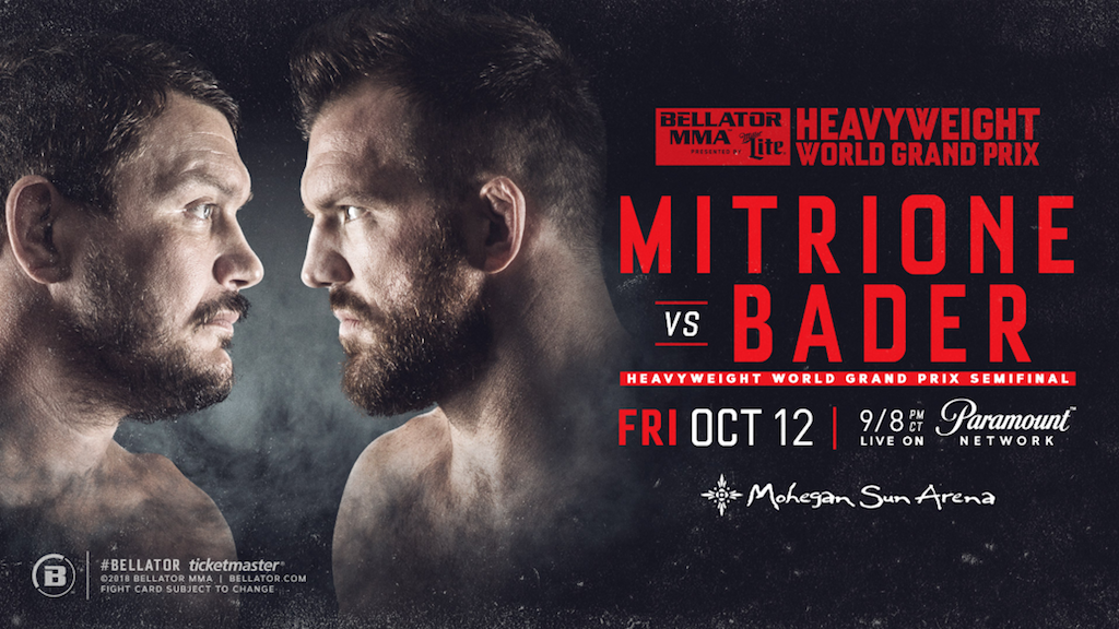 Matt Mitrione vs Ryan Bader Lands at Mohegan Sun on Friday, Oct. 12