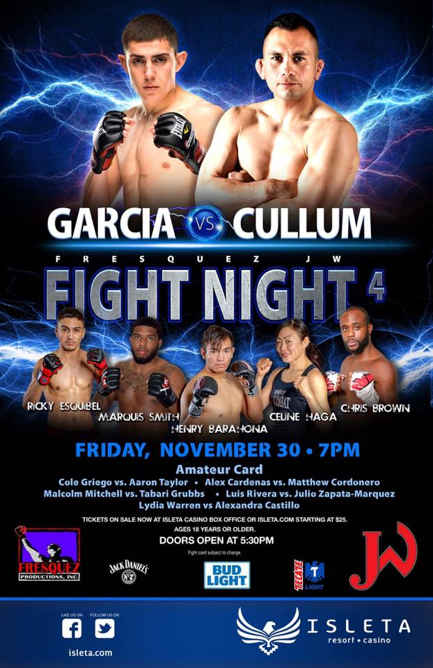 Finalized Fight Card for Fresquez Productions Fight Night 4