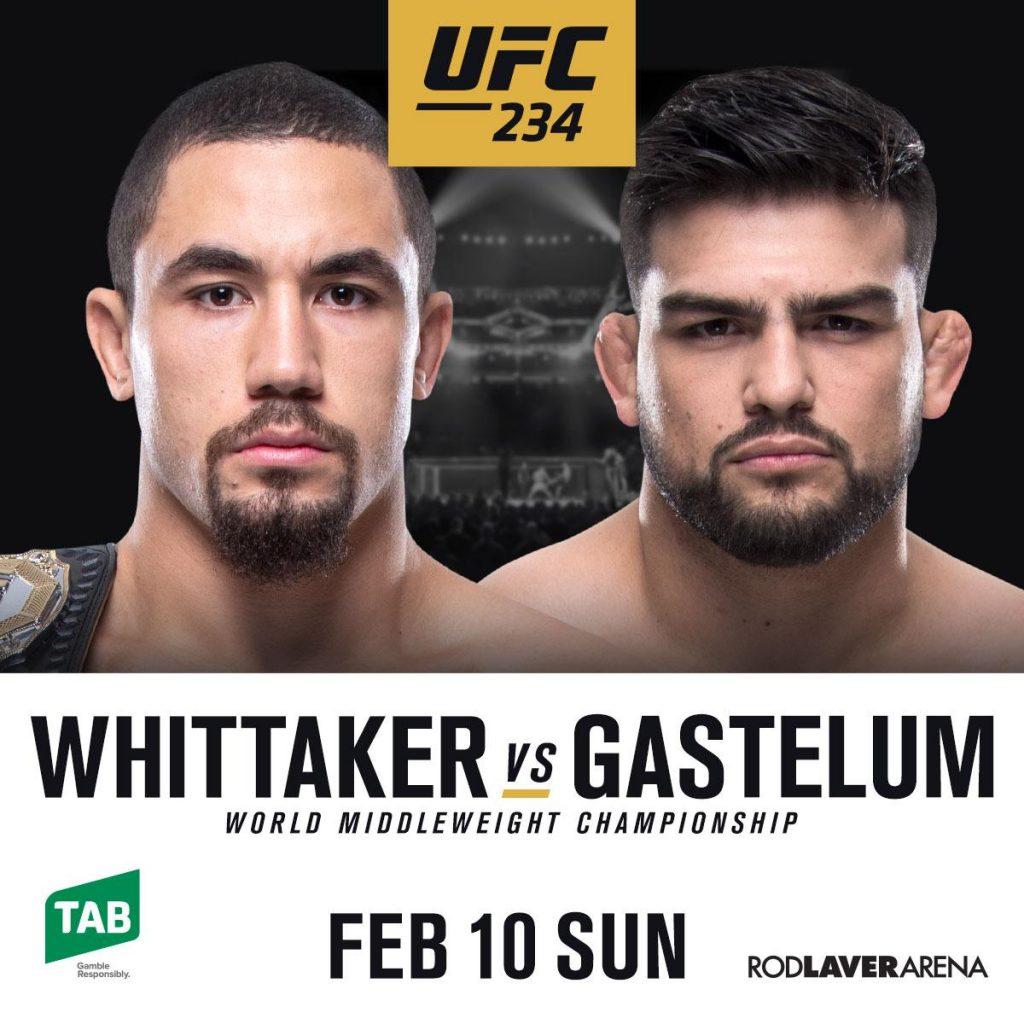 UFC 234 headlined by Robert Whittaker vs Kelvin Gastelum