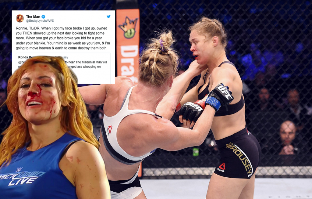 "Becky Lynch on Ronda Rousey's loss to Holly Holm: ""You hid for a year under your blankie"""