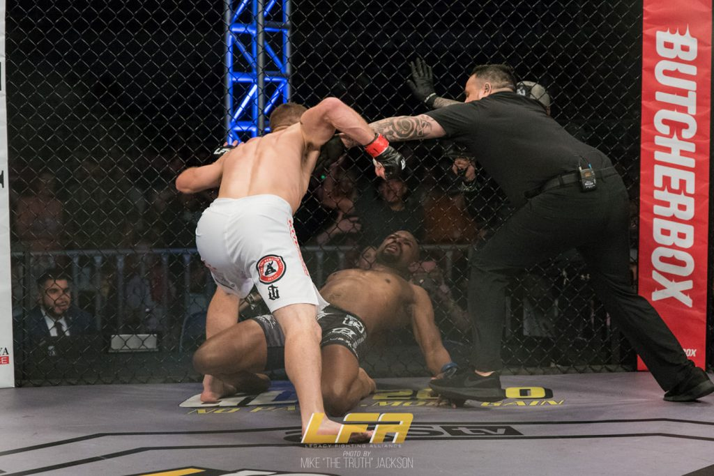 "Derrick Krantz def. Justin Patterson via KO at 2:27 into Round 1 at LFA 63 - Photo courtesy of Mike ""The Truth"" Jackson"