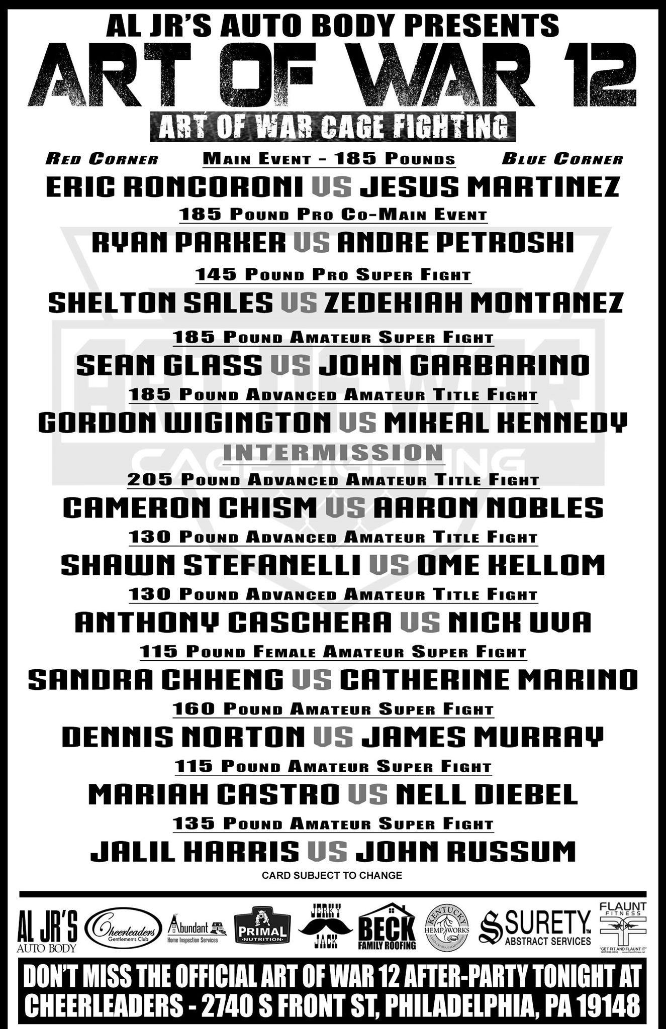 AOW 12, Art of War Cage Fighting