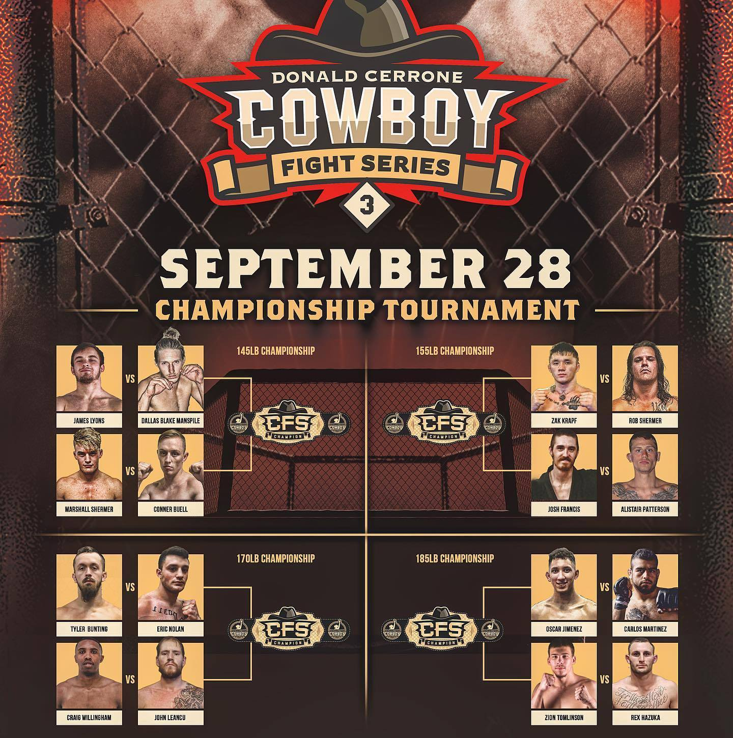 Brackets revealed for Cowboy Fight Series semi-final tournaments on September 28