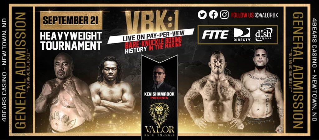 Valor Bare Knuckle announces lineup for VBK 1 - Heavyweight tournament brackets