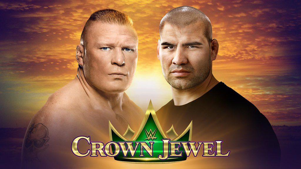 Brock Lesnar defeats Cain Velasquez with kimura at WWE Crown Jewel