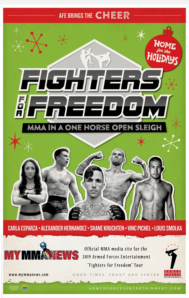 Armed Forces Entertainment, MyMMANews, Fighters For Freedom, Carla Esparza, Shane Kruchten, Alex Hernandez