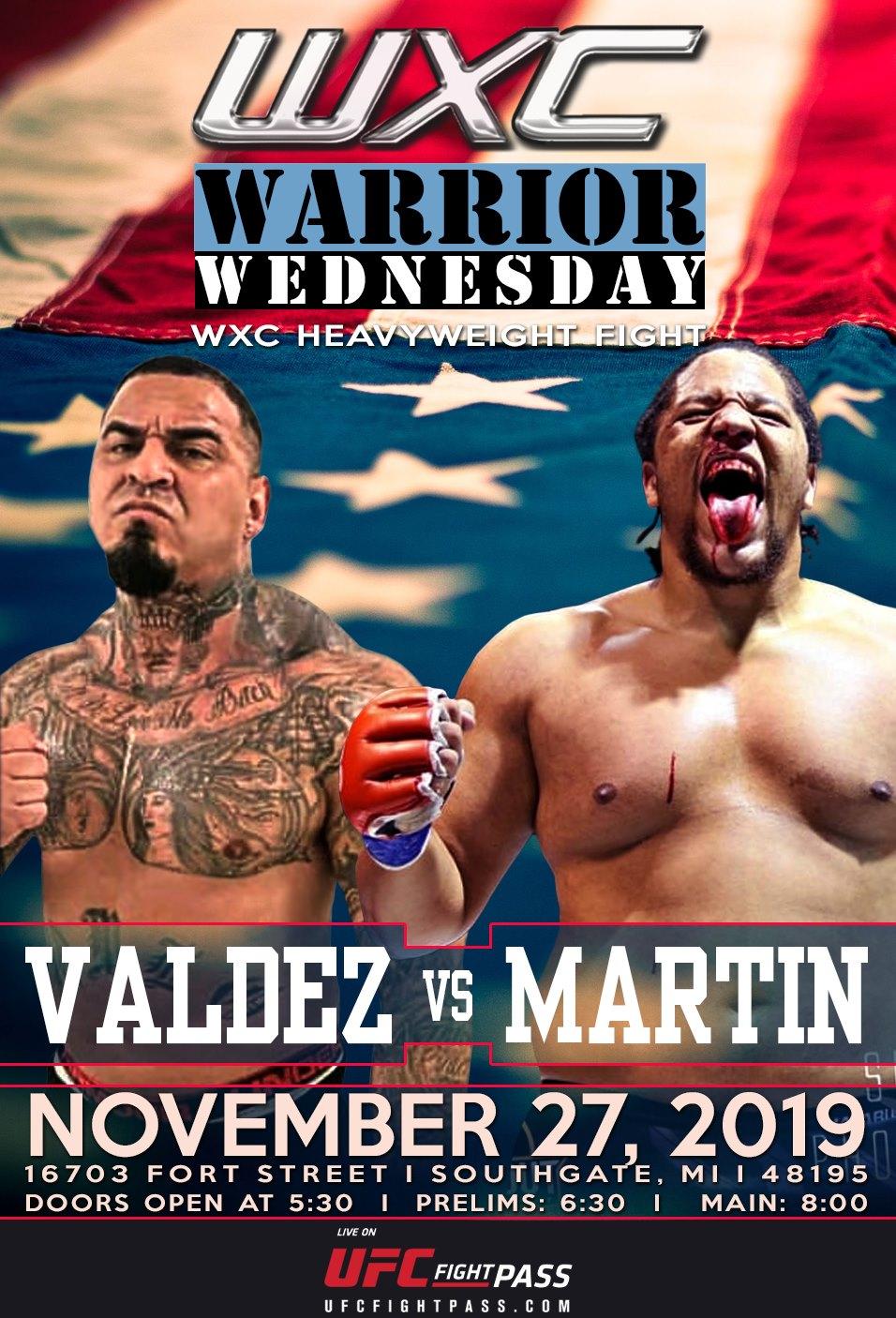 Thanksgiving Eve - Warrior Wednesday IX pairs Abel Valdez against Jonathan Martin