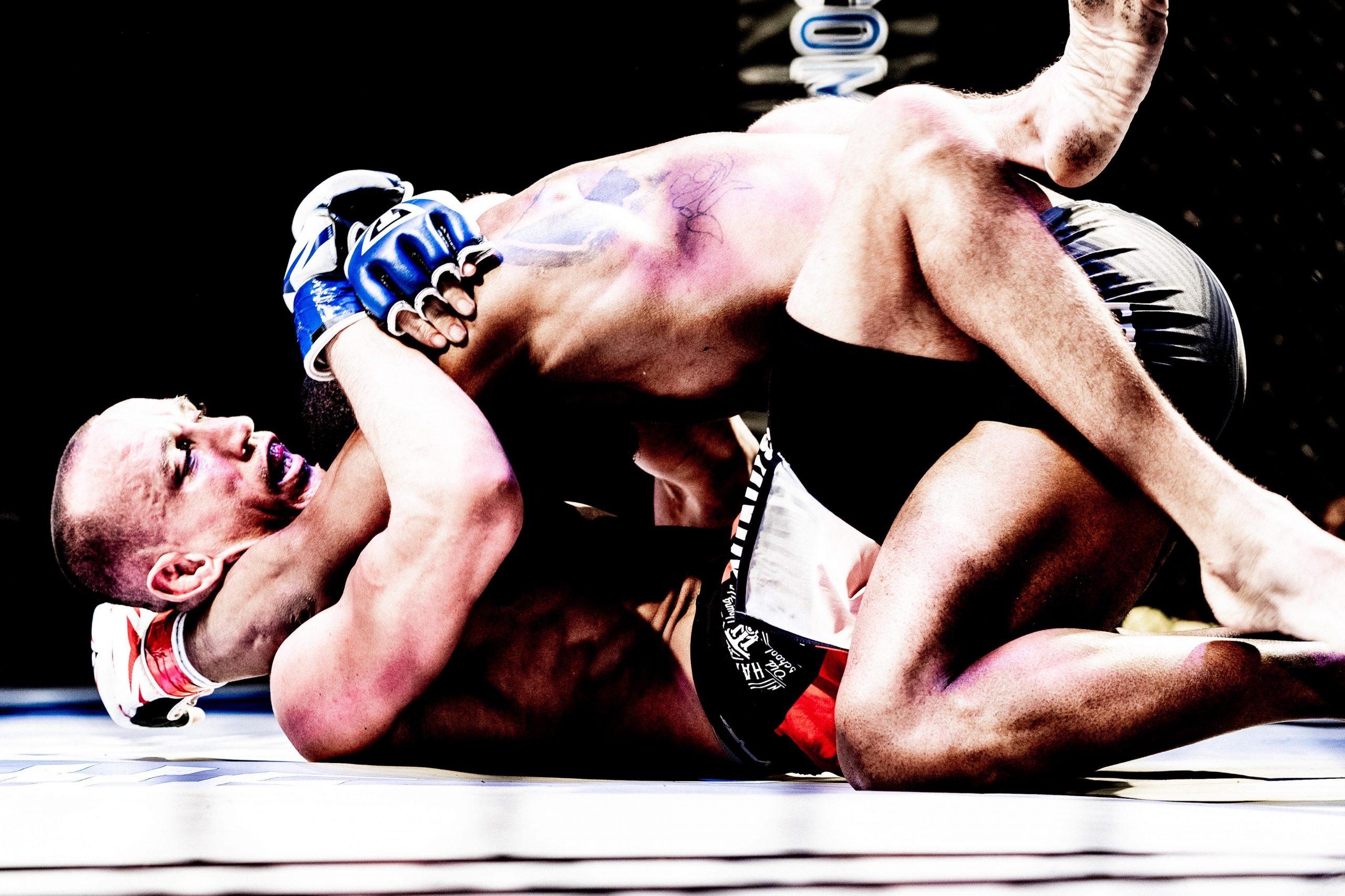 Alfred Leisure (bottom) vs. Corey Dulaney - Ohio Combat League 5 - Photo by Dave Hatfield (thelastwhitesquirrel)