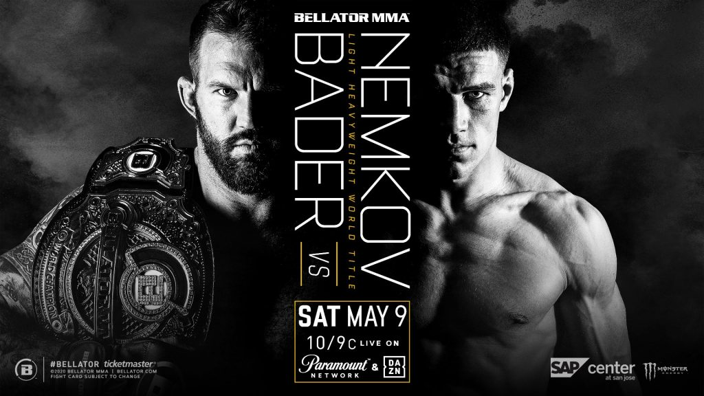 Bellator Double Champ Ryan Bader Defends Light Heavyweight Title Against Vadim Nemkov on May 9 in San Jose - Live on Paramount Network