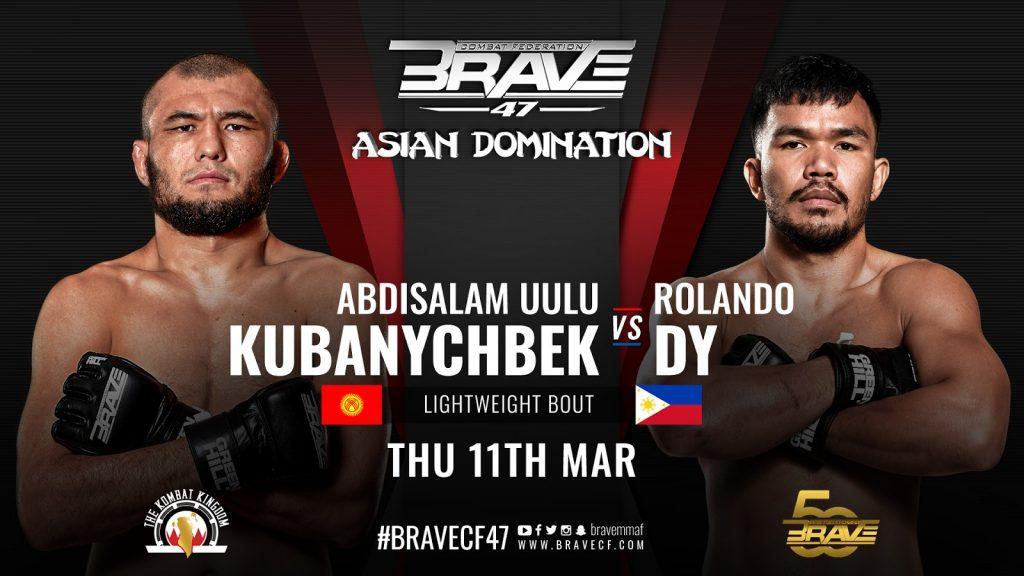 Rolando Dy meets Abdisalam Kubanychbek in BRAVE CF 47 Lightweight World Title Eliminator