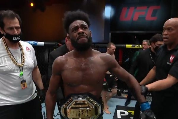 Aljamain Sterling is the new UFC Bantamweight Champion as Peter Yan disqualified for intentional illegal strike
