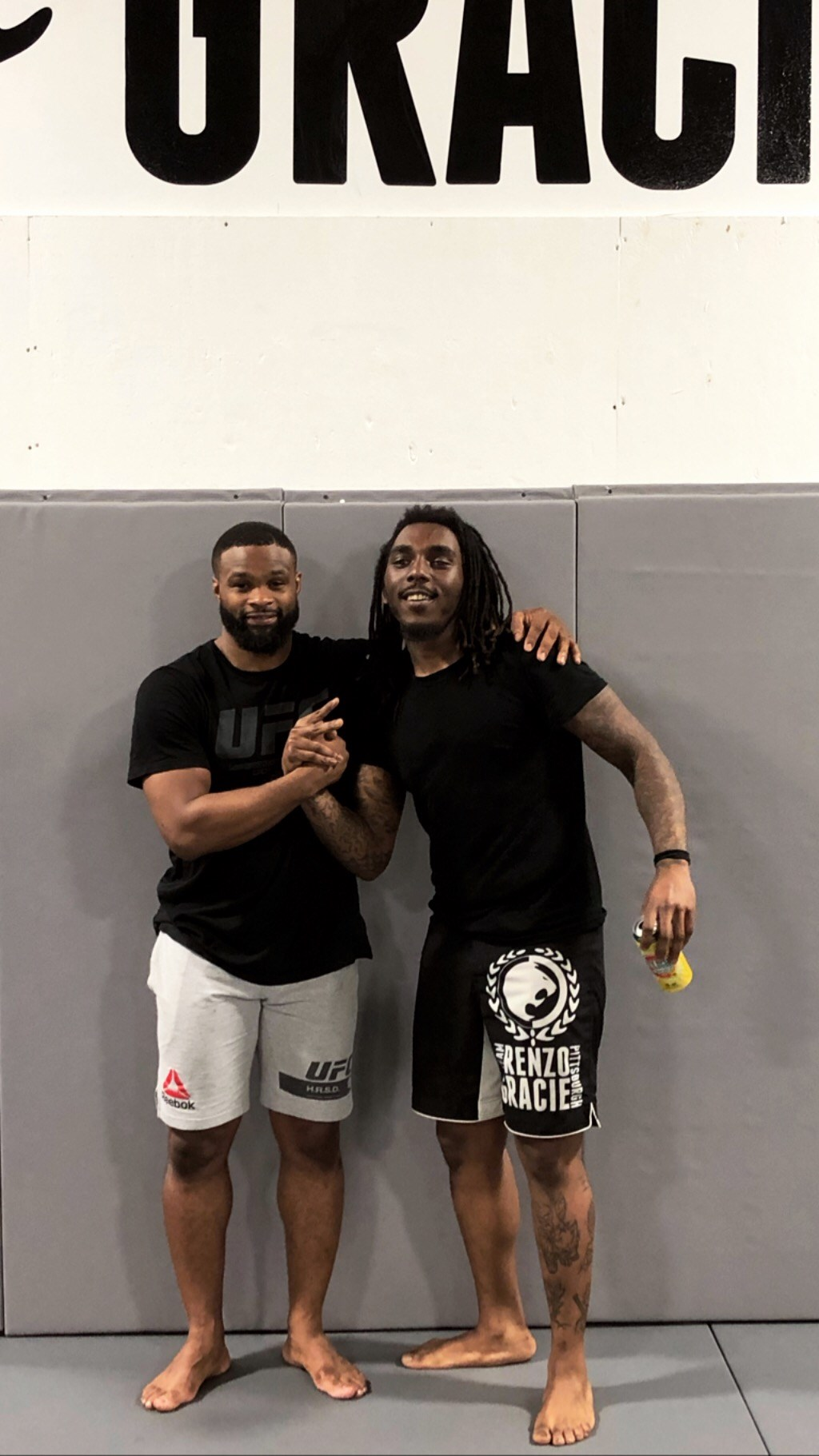 Tyron Harris (right) and former UFC welterweight champ Tyron Woodley